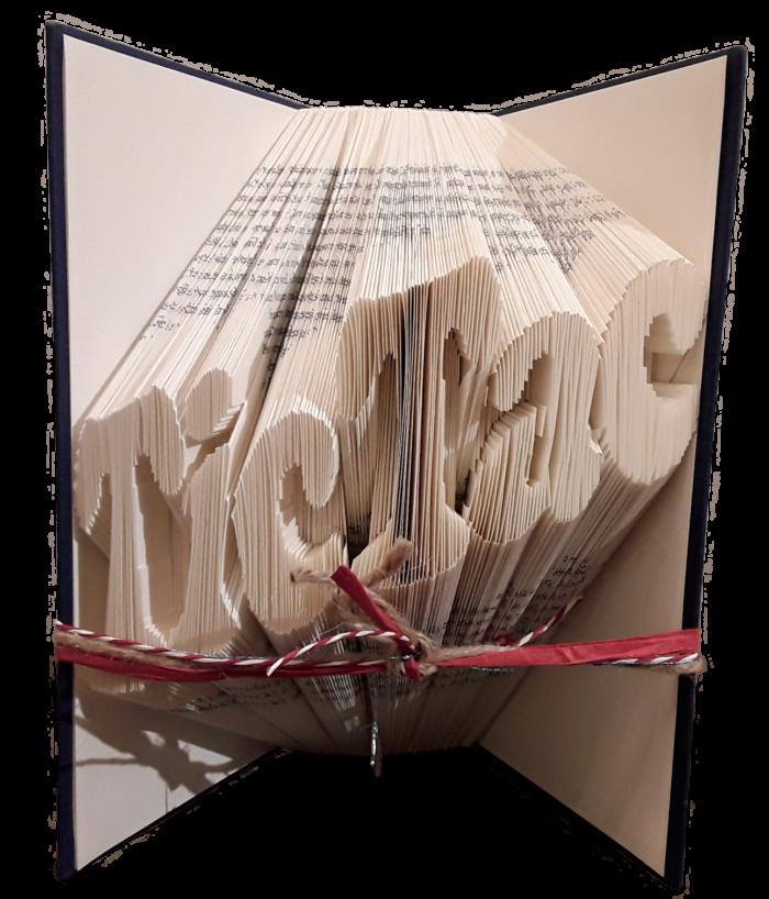 Einzeiliges Faltbuch mit diagonalalem Text TicTac